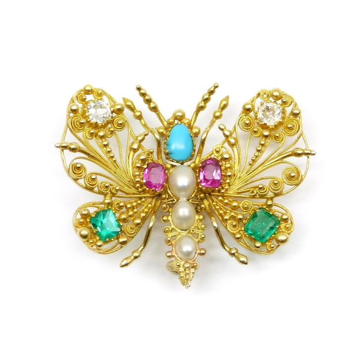 Early 19th century gold and gem set cannetille work butterfly brooch, English c....