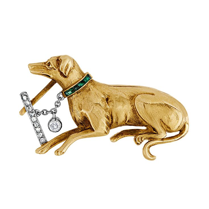 Edwardian Emerald Diamond Gold Dog Brooch | circa 1910 www.1stdibs.com/...