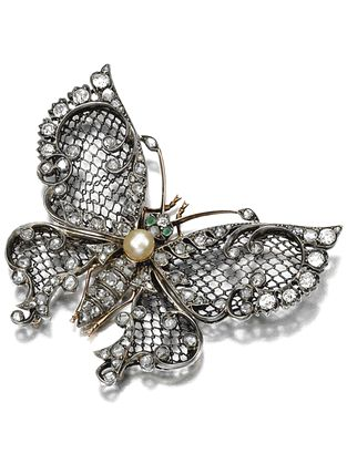 GEM-SET AND DIAMOND BROOCH, 1900 Designed as a butterfly mounted en tremblant, t...