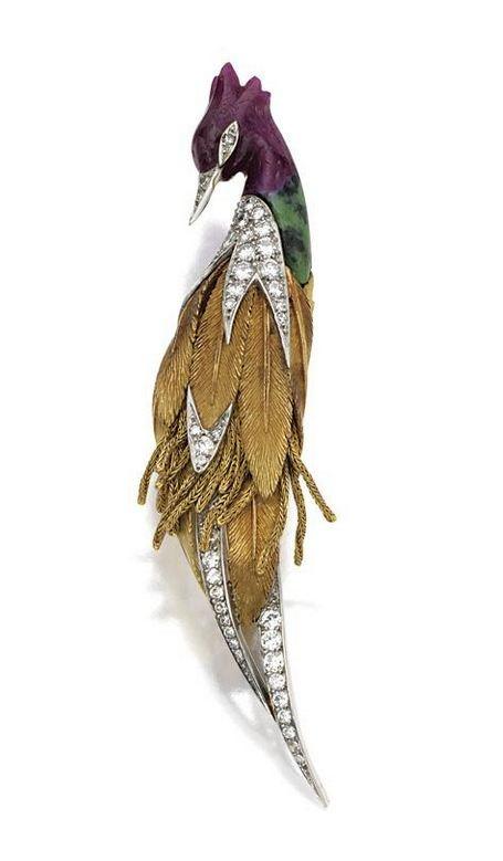 Gold, platinum, coloured stone and diamond bird brooch, Sterle, Paris, circa 196...