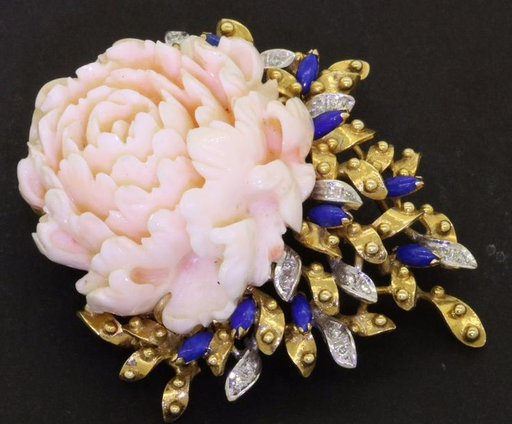 Heavy 18K gold VS diamond lapis & 41.5 X 36.7mm Carved flower Pink coral brooch