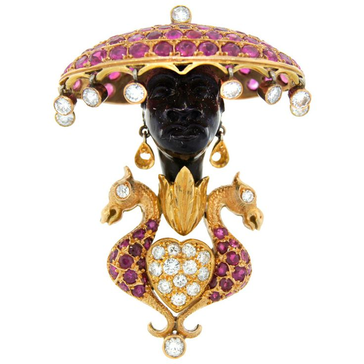 NARDI Diamond Ruby Black Onyx Yellow Gold Blackamoor Pin Brooch | From a unique ...