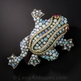 Opal and Diamond Frog Brooch