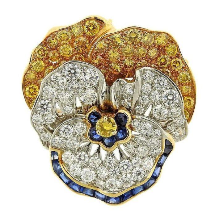 Brooches Jewels : Oscar Heyman Diamond Sapphire Platinum ...