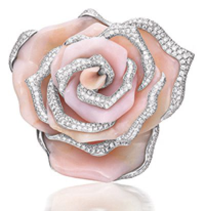 PINK OPAL AND DIAMOND BROOCH, BY CHOPARD  Modelled as a blossom rose, set with p...