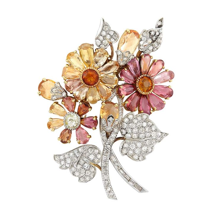 Platinum, Gold, Pink Tourmaline, Yellow Topaz, Citrine and Diamond Flower Clip-B...