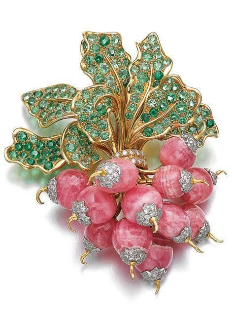 Radishes - brooch set with rhodochrosite, peridot, and diamonds - René Boivin,...