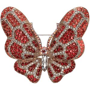 Ruby and diamond butterfly brooch--