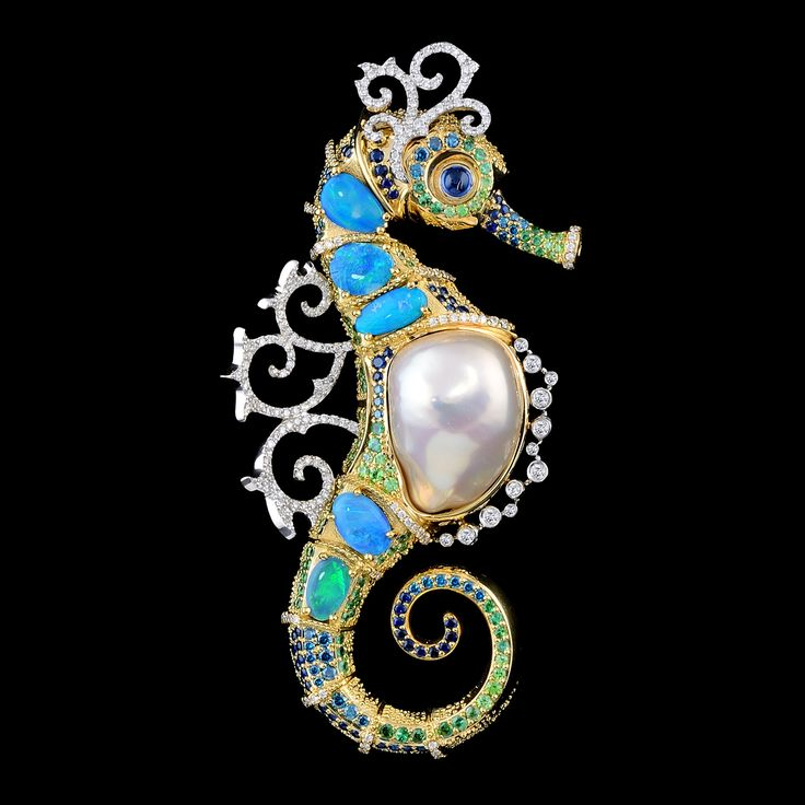 Seahorse pendant of 18K yellow and white gold, baroque pearl, opals, diamonds, b...