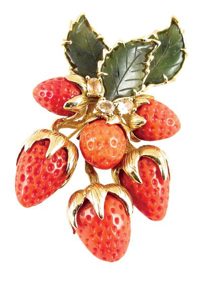 Tony Duquette carved coral strawberry brooch with jade and yellow sapphire