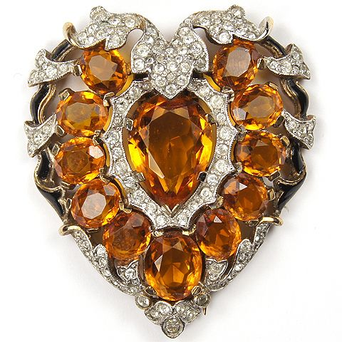 Trifari 'Alfred Philippe' Pave Topaz and Enamel Heart Pin Clip 1941