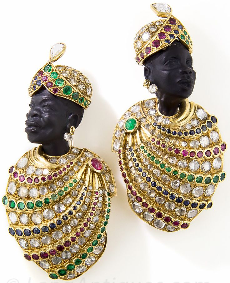 Vintage - Broches 'Prince Africain' - Or Jaune, Onyx, Diamants, Rubis et...