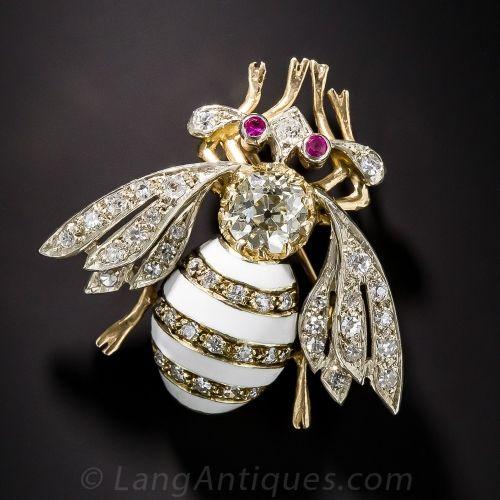 Vintage Enamel Bee Brooch with 1.20 ct. Old Mine-Cut Diamond - Lang Antique & Es...