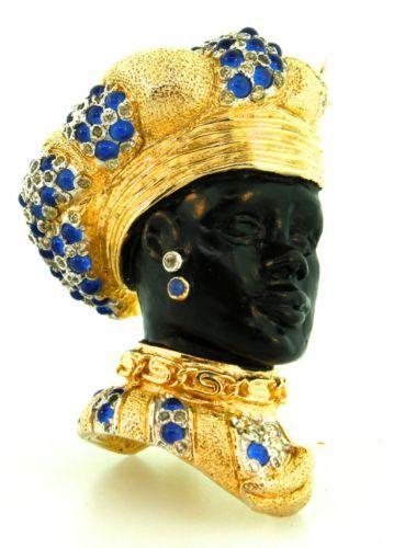 Vtg Nettie Rosenstein Blackamoor Prince Cabochon Figural Rhinestone Brooch Pin |...