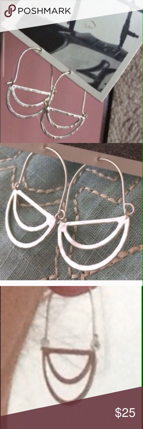 Anthropologie silver tone crescent. Moon earrings. Silver tone Anthropologie. Ea...