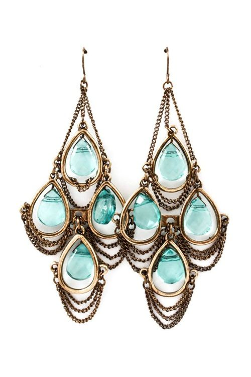 Aquamarine Chandelier Earrings | Awesome Selection of Chic Fashion Jewelry | Emm...