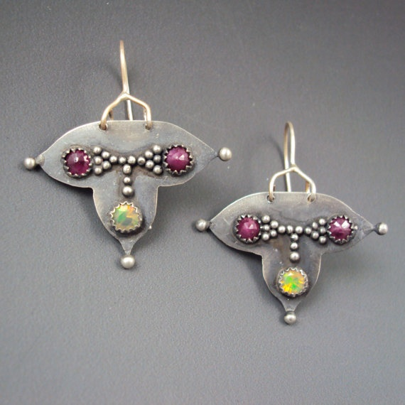 Beautiful granulated earrings