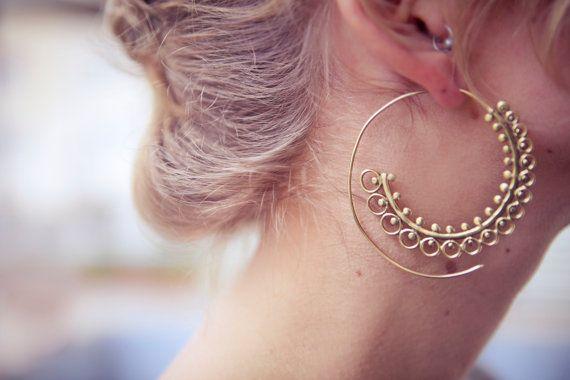 Brass hoops Tribal Earrings Ethnic Earrings Spiral