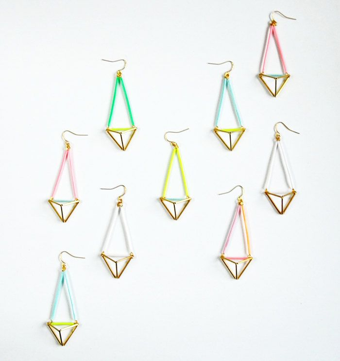 Colourful geometric triangle pyramid earrings