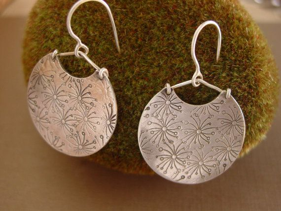 Hand Stamped Sterling Silver Dangle Earrings by ReaganHayhurst