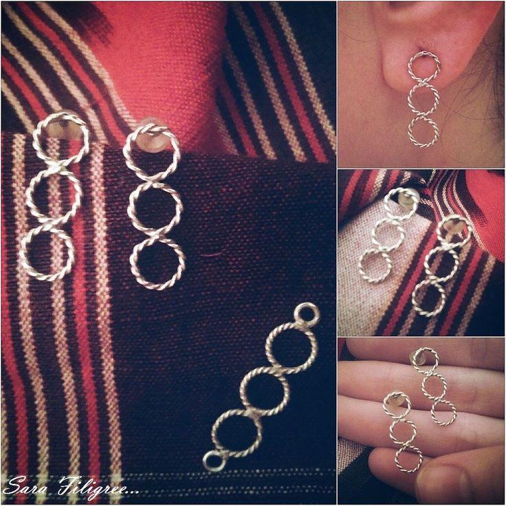 Handmade silver filigree earriings & pendant...