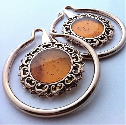 Rose Gold Eye of the Lotus Hoops with Amber by Maya Jewelry