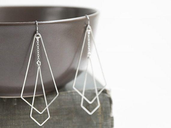 Silver Art Deco Earrings - long geometric, Great Gatsby, simple modern, arrowhea...