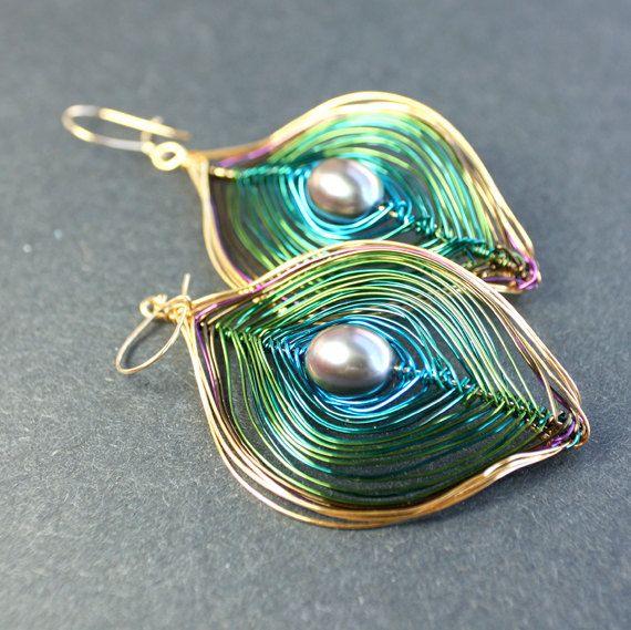 Wire Peacock Earrings