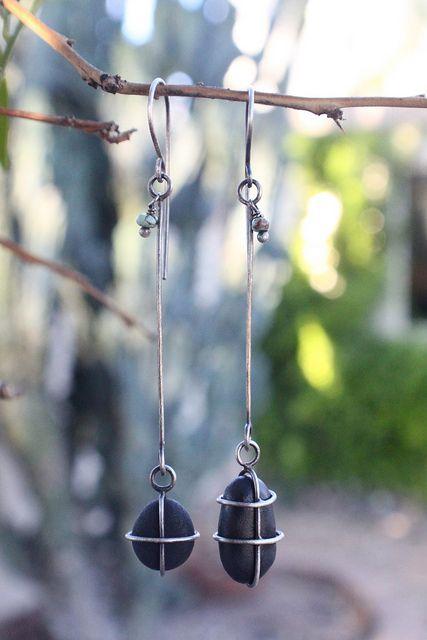 earrings, beach stones, ashley weber