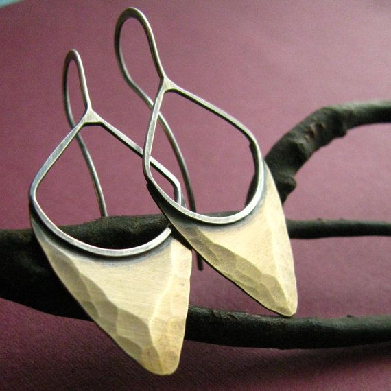 love the shape and texture of these bronze and silver earrings (etsy Mocahete)