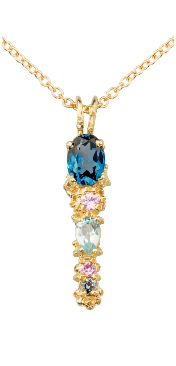 A beautiful handmade necklace by Ruta Reifen, with colorful sapphires, aquamarin...