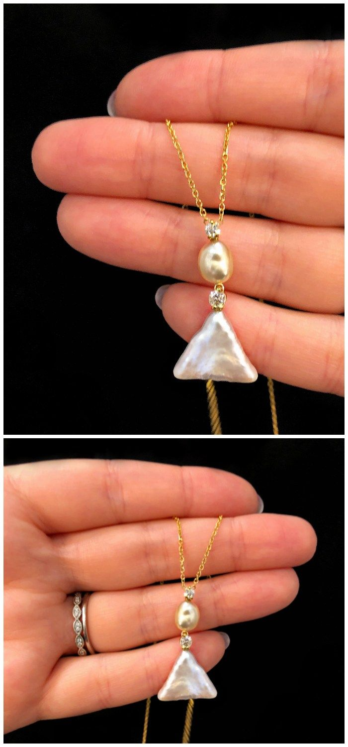 I'm really into this fresh, modern pearl and diamond pendant! By American Pe...