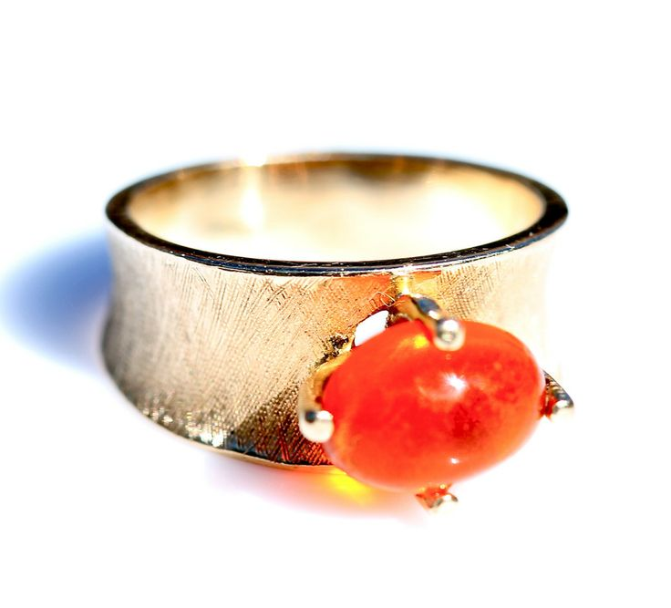 14k Yellow Gold  Mexican Fire Opal Ring Vintage Size 7