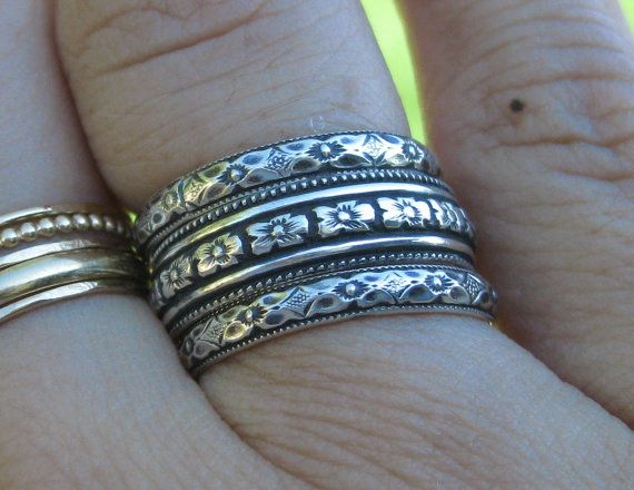Antique Look Stacking Rings Sterling Silver Set of 3 Bands with Delicate Floral ...