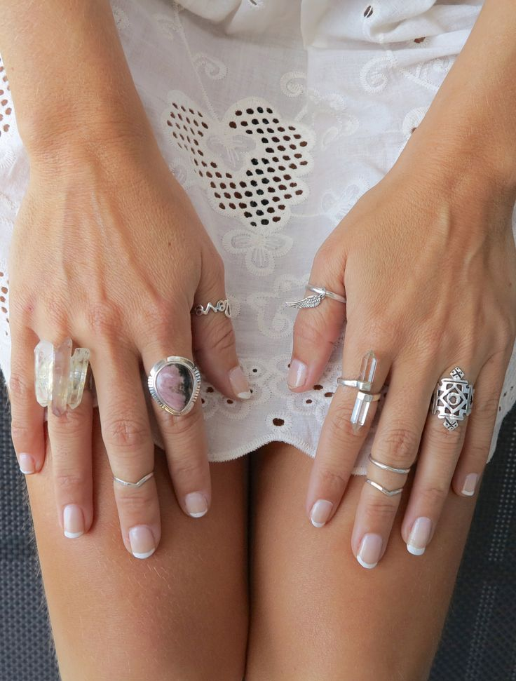 Boho - silver stacked rings