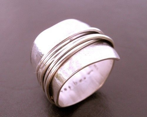 Destiny Wrapped Wide Band Sterling Silver Ring Wrapped Wire Ring Woven Ring Hand...
