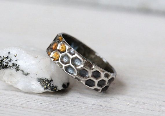 LOVE THIS! Silver honeycomb ring with gold honey details  by SilverBlueberry, $5...