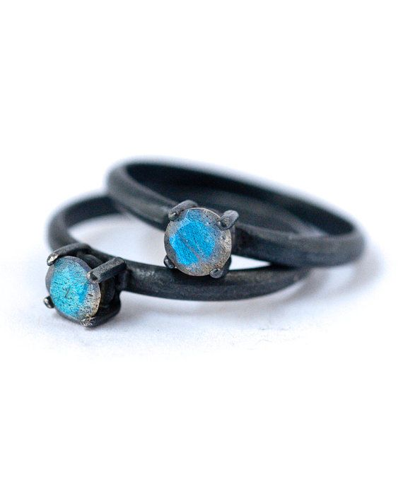 Labradorite Ring - Oxidized Silver Rings , July Birthstone, dgc - Gift Guide, Fe...