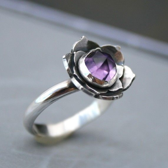 Lotus Amethyst Ring, Sterling Silver Cocktail Ring, Statement Ring, Solitaire, F...