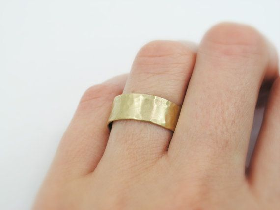 MATTE HAMMERED 14K yellow gold wedding band by KaiJewelry585