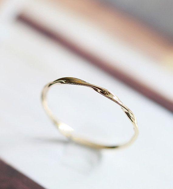 Mobius ring solid 14k 18k gold twist band stacking ring, rose gold, white gold, ...