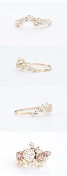 Mociun custom designed Old Miner diamond wedding band, curved to fit a custom Ol...