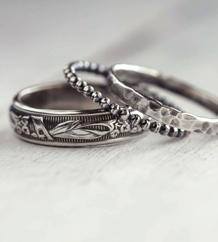 ae8daf9eb9b Rings Ideas : Rustic Sterling Silver Stacking Rings - ZepJewelry.com ...