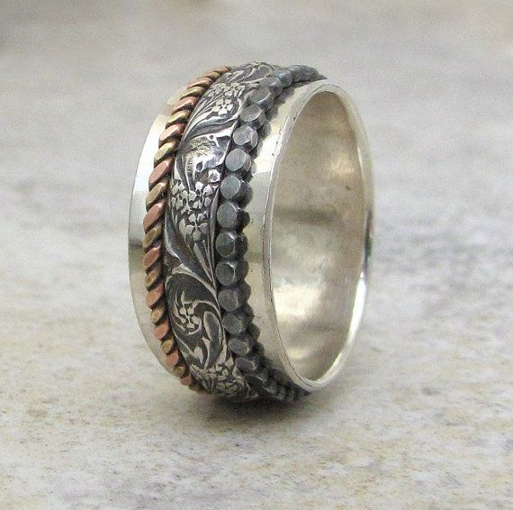Silver Spinner Ring Floral Spinner Ring Dot by SilverSmack on Etsy, $140.00