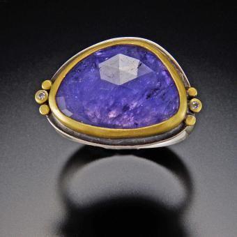 Tanzanite Ring with 22k Dots and Diamonds   Ananda Khalsa Jewelry