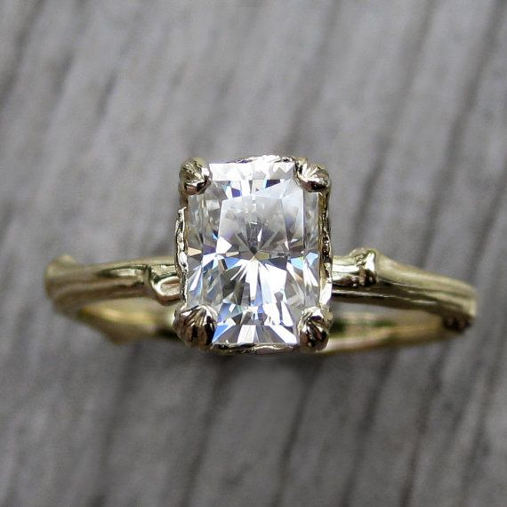 moissanite and recycled 14k gold