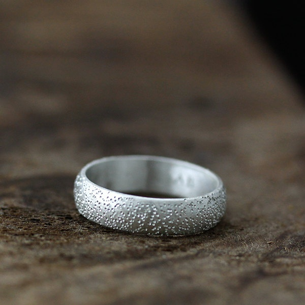 stardust textured wide half round band - eco friendly recycled sterling silver r...