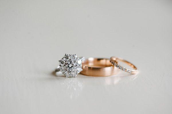 stunning diamond flower wedding ring with wedding bands - photo by Ann-Kathrin K...