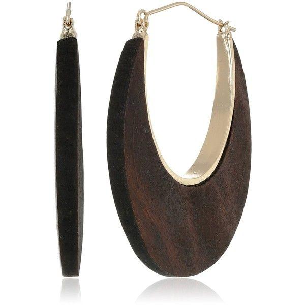 Kenneth Jay Lane Polished Gold Wood Post Hoop Earrings (3.955 RUB) ❤ liked on...