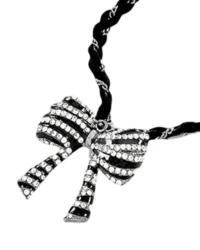 Bow Necklace Clear Crystal Leatherette BT Black Burnish S... www.amazon.com/...